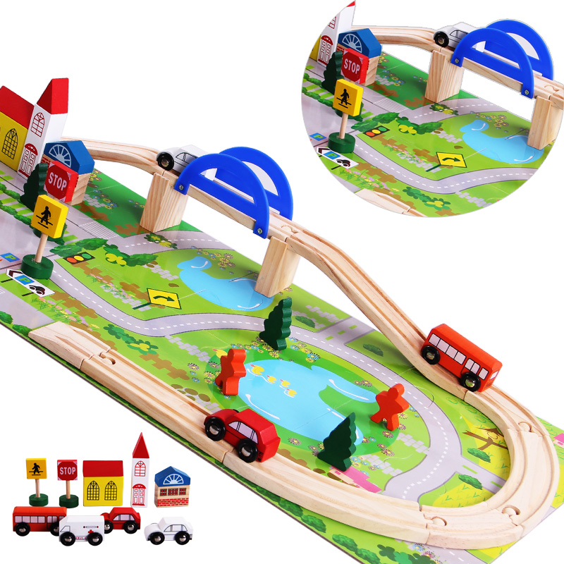 2016 Rushed Cars Brinquedos Wooden Children Traffic Rail Toy Disassembling Combination Track Intersection Baby Educational Toys ...