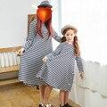 Familia Vestido de La Madre Y la Hija de Verano de Rayas de Manga Larga vestido casual clothing top skater loose vestido de la princesa del bebé 3-14 Y