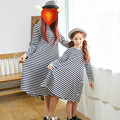 Family Dress Up Mother And Daughter Summer Long Sleeve Striped Dress Casual Top Skater Loose Princess Dress Baby Clothing 3-14 Y