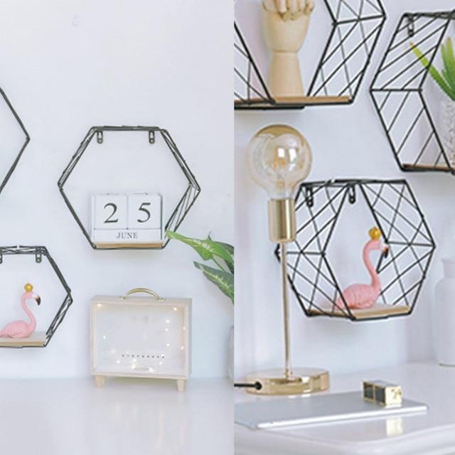 Nordic Iron Hexagonal Grid Wall Floating Shelf Combination Wall Hanging Geometric Figure Wall Decoration For Living Room Bedroom 4