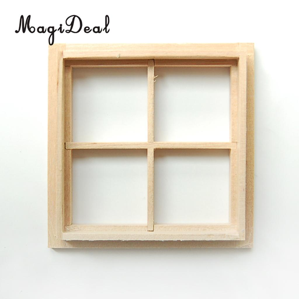 2pcs Lot Doll House Window 1 12 Scale Wood Miniature Dollhouse Dolls Wiring Kit Magideal 1pc Wooden 4 Pane Diy Acce For Kids Pretend