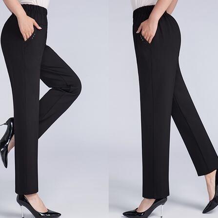 Edad Cintura Otoño Mujer Mediana Slim Primavera Df443 Recto Y 6xl Negro De Las Oscuro Mujeres Pantalones Alta Tamaño Suelto gris marrón Gran wX7axzg
