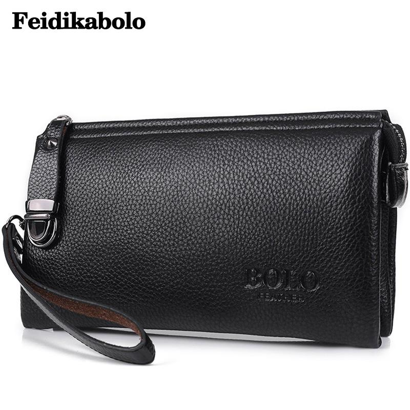FEIDIKABOLO Famous Brand Men Wallet Luxury Long Clutch Handy Money Bags Male Leather Wallets Coin Purse Men's Clutch Bags FD034 2016 famous brand new men business brown black clutch wallets bags male real leather high capacity long wallet purses handy bags
