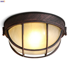 IWHD  Round American Country LED Ceiling Light Fixtures Kitchen Balcony Porch Corridor Vintage Retro Ceiling Lamps Plafonnier retro vintage industry american country fan edison ceiling plate light balcony kitchen dinning room modern home decor lighting
