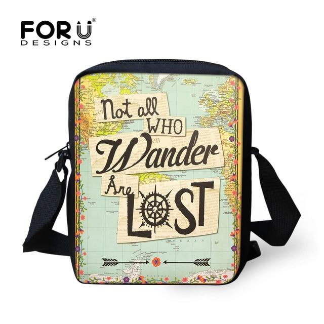 Forudesigns World Map Women S Handbag Casual Small Messenger Bag For Kids Book Shoulder Bags Travel Vintage