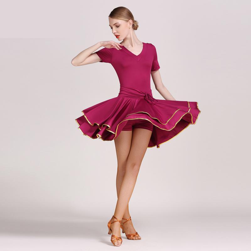 Latin Dance Dress Black Red V Neck Ballroom Dancing Dresses For Women Standard Professional Adult Stage Rumba Latina Dresses