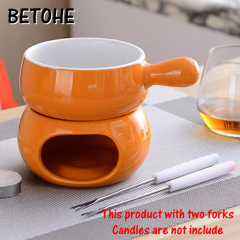 BETOHE Colorful Ceramic Fondue Set Cheese Warmer Chocolate Pot Square Fondue Pot For Icecream Fruit Bread