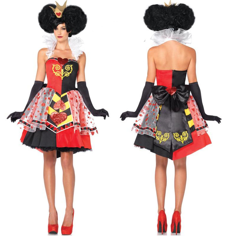 New Alice In Wonderland Cosplay Costume Queen Of Hearts Costume Red Queen Costume Female Elegant Dress Cosplay women