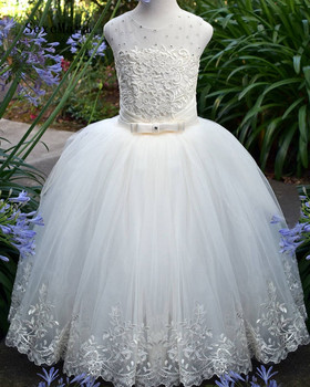 High Quality Real Picture Flower Girls Dresses for Wedding Lace Up Back Applique Beads Lace Kids Communion Dress Birthday Gown