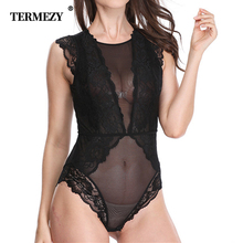 TERMEZY Brand Sexy Shapewear Thin Floral Hollow Out Ladies Lace Bodysuits Black Female Transparent