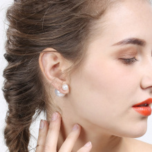 X&P 1Pairs/lot Double Sided Earrings Wholesale Fashion Pendiente Brinco 16mm/8mm Double Pearl Earrings in Jewelry for Women Girl