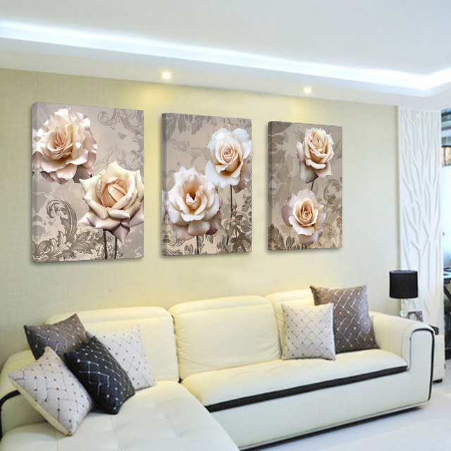 3P Flower Bedroom Vintage Home Decor Canvas Painting