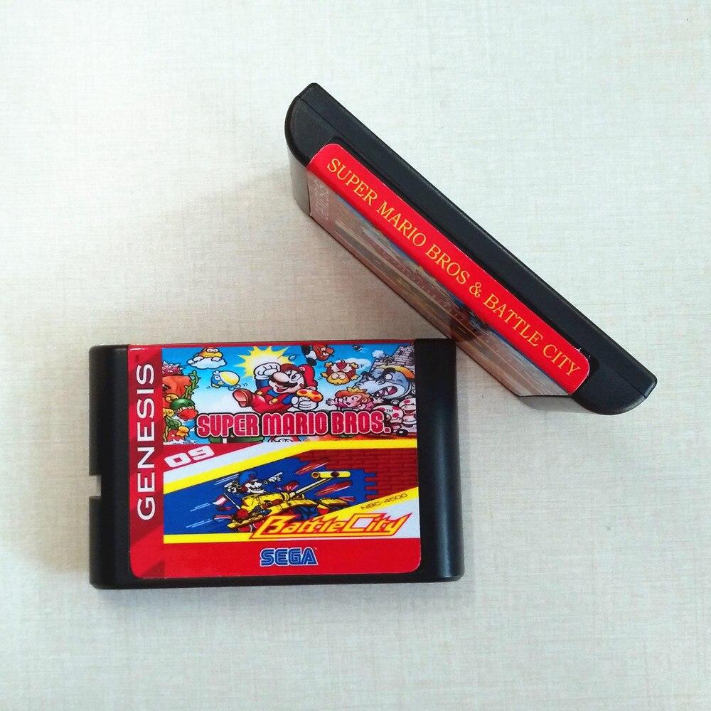 Supermaribros. & Battle City 16 Bit Game Cartridge For SEGA GENESIS MegaDrive For PAL And NTSC