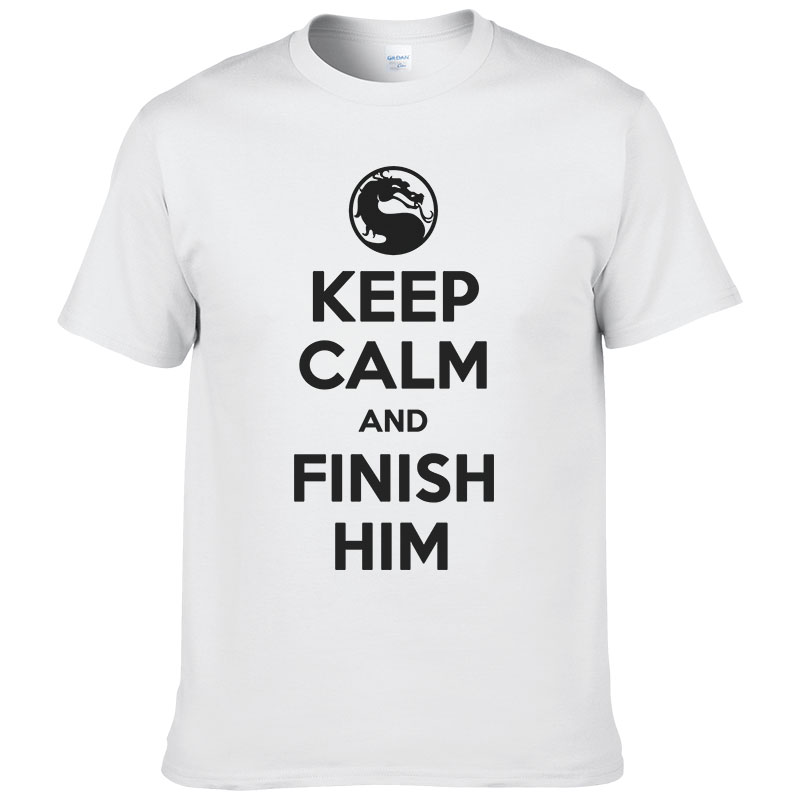 Keep Calm And Finish Him Mortal Kombat T Shirts Ringer Male MK 2016 Summer Cotton Tops Tees #078