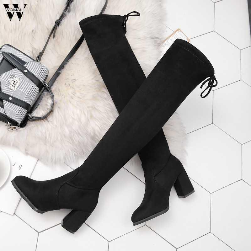 ต้นขาสูงรองเท้าหญิงฤดูหนาวรองเท้าผู้หญิงกว่าเข่าบู๊ทส์แบนยืดเซ็กซี่แฟชั่นรองเท้า 2018 สีดำขี่ nov28