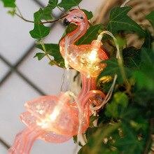 Розовая лампа Фламинго гирлянда батарея лампа 10 Светодиодная лампа в форме украшение на Хэллоуин, Рождество огни