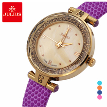 Julius Lady Woman Wrist Watch Quartz Hours Best Fashion Dress Korea Candy Bracelet Band Leather Shell JA-624 crystal rhinestone shell lady women s watch japan quartz hours clock fine fashion dress chain bracelet girl gift julius box