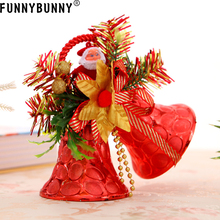 FUNNYBUNNY Christmas Tree Bell Decor Bowknot Double Xmas Ornament Pendant Door Hanging Decoration