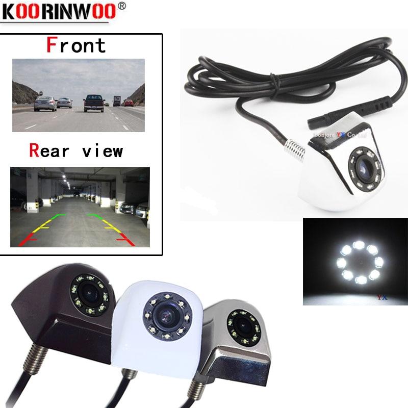 Koorinwoo Universal 8 LEDs Luzes da frente do carro e câmera de visão traseira do veículo Auto 12 HD de Backup Estacionamento Reverso Da Câmera À Prova D' Água V