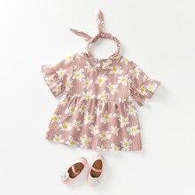 Mother Kids - Childrens Clothing - Godier Princess Summer Baby Girls Dresses & Hairband 2pcs Set Floral Print Flare Sleeve A-Line Dress Cotton Children Vestidos