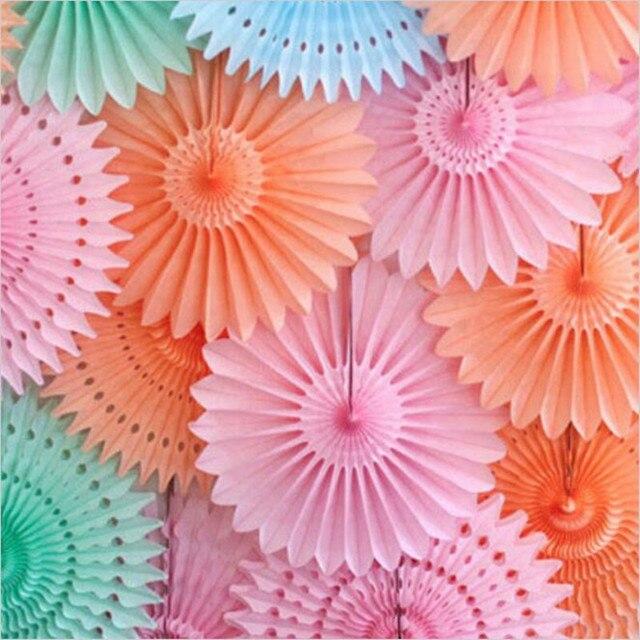 5pcs Lot 20cm Hollow Fan Tissue Paper Umbrella Wedding Party Decoration Arrangement