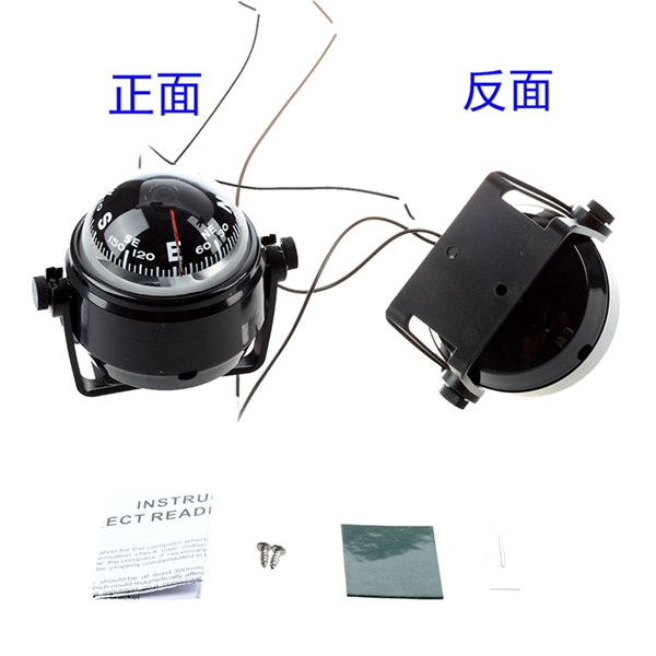 LED Light Marine Digital Compass LED Light Pivoting Compass Dashboard Dash Mount Suitable for Car Boat and Truck Black