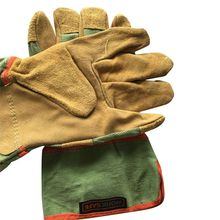 Welding Gloves Leather Full Palm Welding Long Gloves High Temperature Wear-resistant Fireproof Gloves Wear-resistant Leather welding driver gloves safety protective wear resisting smooth leather working gloves