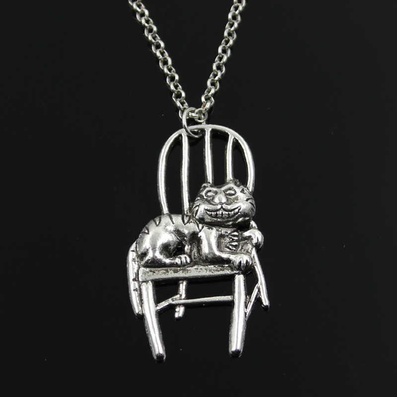 Simples Clássico da moda gato preguiçoso deitado na cadeira Antique Pingente de Prata Menina Curto Longo Colares Cadeia de Jóias para as mulheres