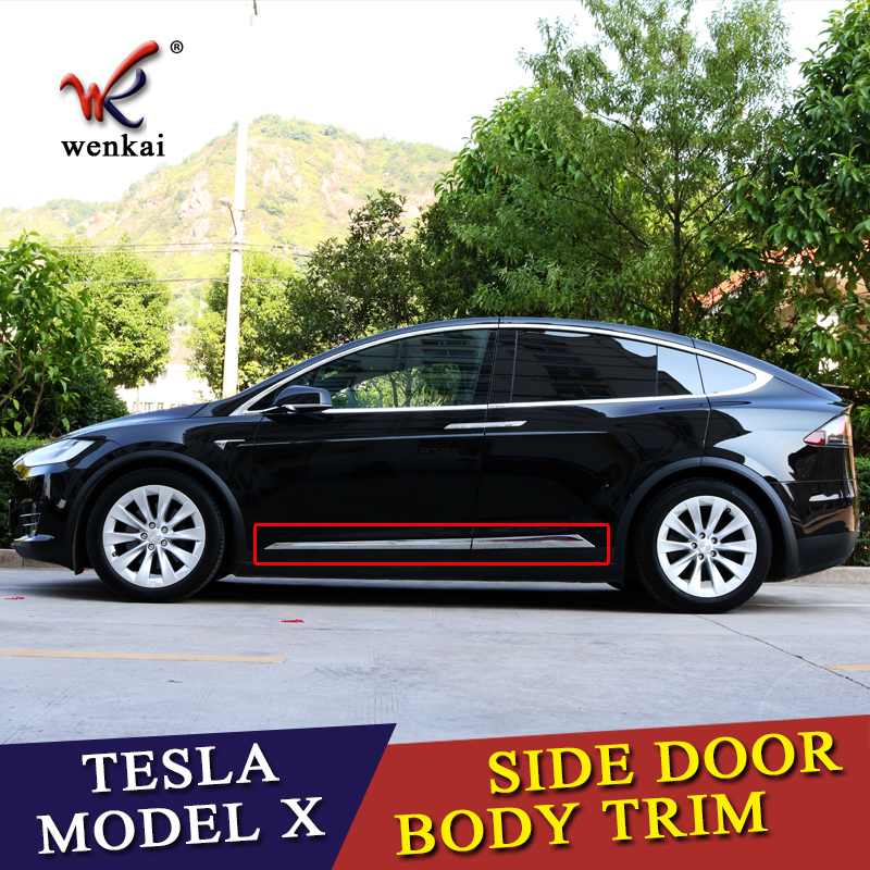 WK CAR For Tesla Model X 2016 2017 2018 ABS Chrome Side Car Body Molding Cover