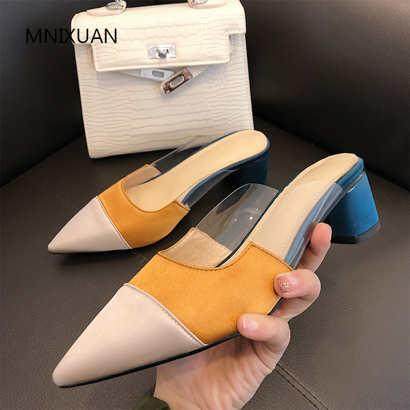 MNIXUAN Fashion women shoes pumps sandals lady mules shoes 2019 spring new pointed toe silk transparent