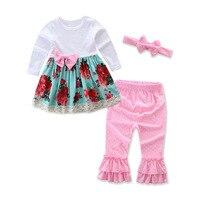 Kerst Baby Meisjes Suits Fashion Peuter Meisje Kleding Set Lente Herfst Kant Katoen Jurk Broek Hoofdband 3 stks/set Outfits Z21