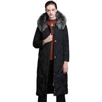 Парка с капюшоном и воротником из натурального Лисьего меха женская одежда 2018 зимняя куртка пуховик корейские ВИНТАЖНЫЕ пальто Manteau Femme Hiver