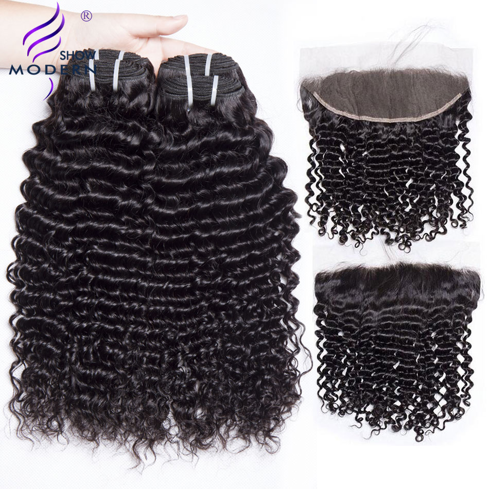 Curly Bundles with Frontal Brazilian Hair Weave Bundles 3Pcs Modern Show Human Hair Lace Frontal Closure with Bundles Non Remy