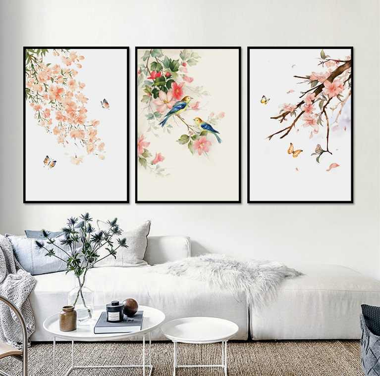 3 Pieces Decorative Nordic Simple Flower Butterfly Printed Canvas Painting Living Room Wall Art Pictures No Frame