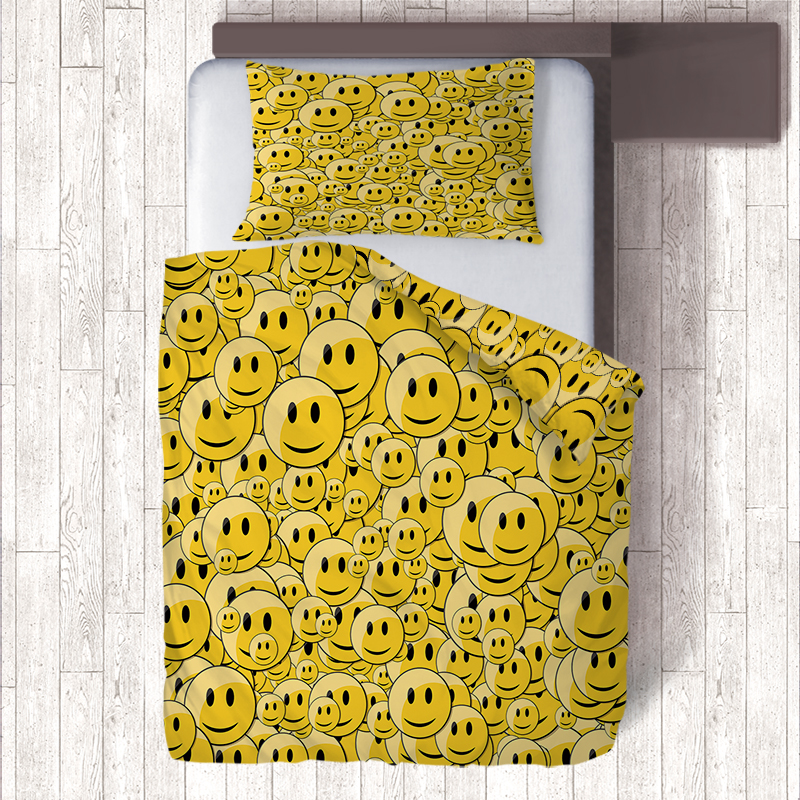 US $23 83 35% OFF|Black/Yellow Emoji Bedding Sets Children Bedreoom Single  Bed Quilt Duvet Covers Pillow Case 3d Housse Couette Nordic Home Decor-in