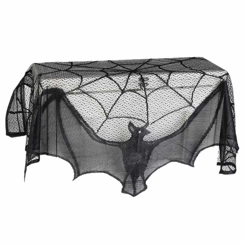 Halloween Spider Bat Pattern Tablecloth Fireplace Cloth Scarf Lamp Cover Cloth Cool Halloween Door Curtain Festival Products