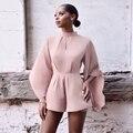 Jessie Vinson Fashion Women Turtleneck Backless Slim Jumpsuit Long Flare Sleeve OL Ladies Shorts Plus Size Playsuits Rompers