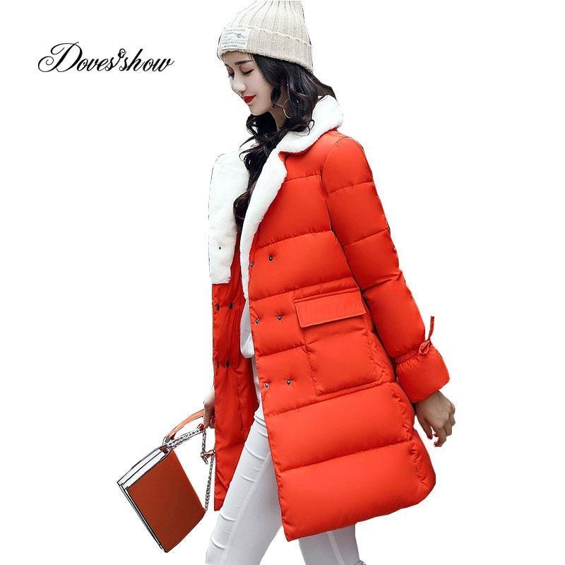 Lamb Wool Collar Winter   Down     Coat   Jacket Long Thick Warm Slim Women Casaco Feminino Abrigos Mujer Invierno 2018 Outwear   Coat