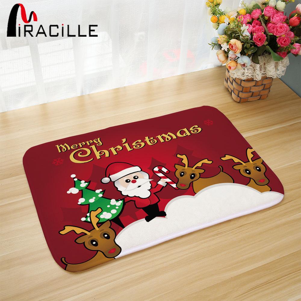 Mat Honlaker Christmas Floor Mat Decoration Santa Doormat Flannel Absorbent Bathroom Door Mat Entrance Door Foot Mat Home & Garden