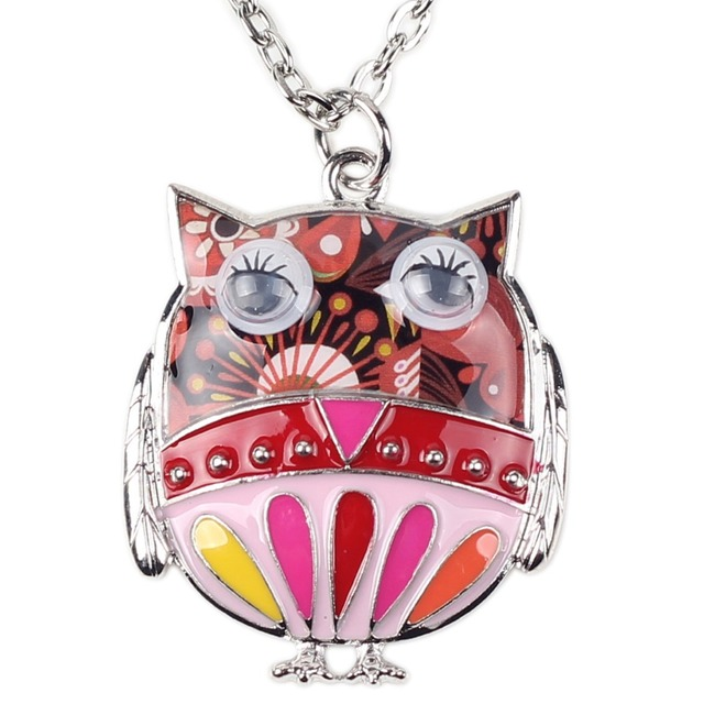 Bonsny Colorful Owl Necklace