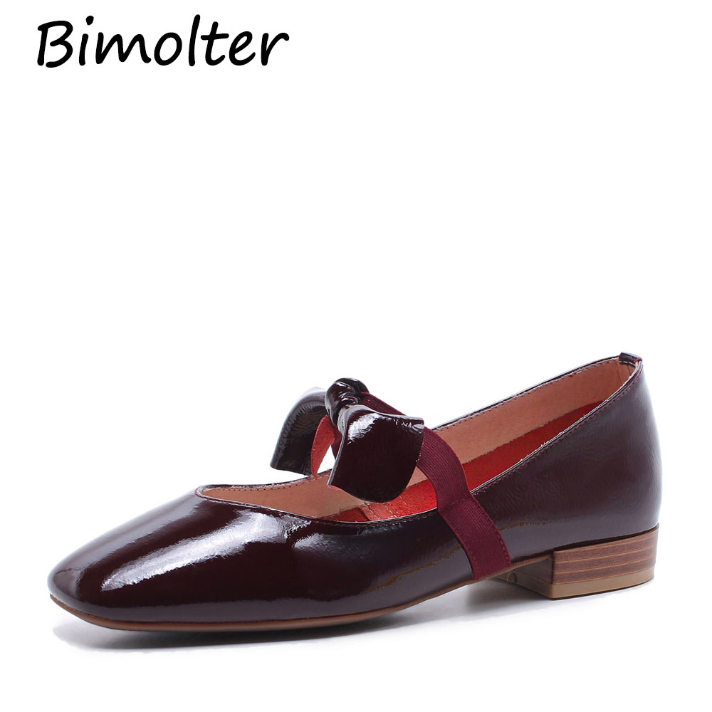 Bimolter Patent Leather Fashion Bow-Knot Summer Flats Women Square Toe Mary Jane Elastic Band Shoes Female Wine Red Size40 FC127Bimolter Patent Leather Fashion Bow-Knot Summer Flats Women Square Toe Mary Jane Elastic Band Shoes Female Wine Red Size40 FC127