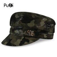 HL056 women&men hats real leather baseball cap 2017 brand new girls boys camouflage color beret belt hunting hats
