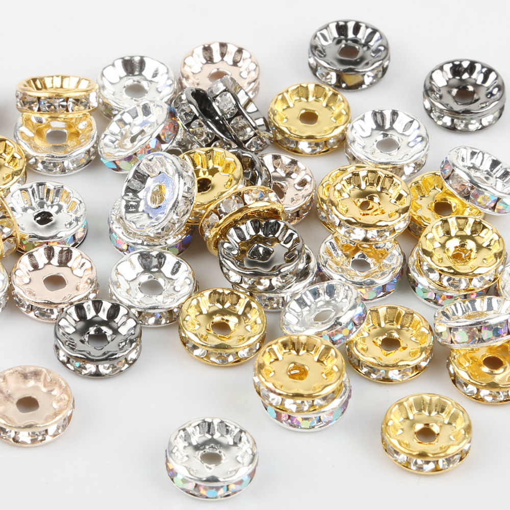 50pcs 4/6/8/10mm Gold/Silver Plated Crystal Rhinestone Beads Round Rondelle Spacer Beads For Jewelry Making DIY Accessories