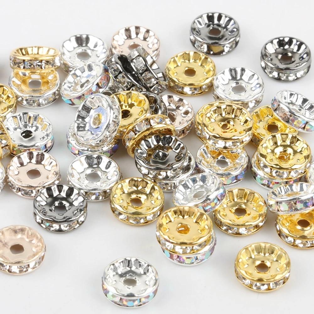 50pcs Rhinestone Crystal Spacer Beads 6*10mm