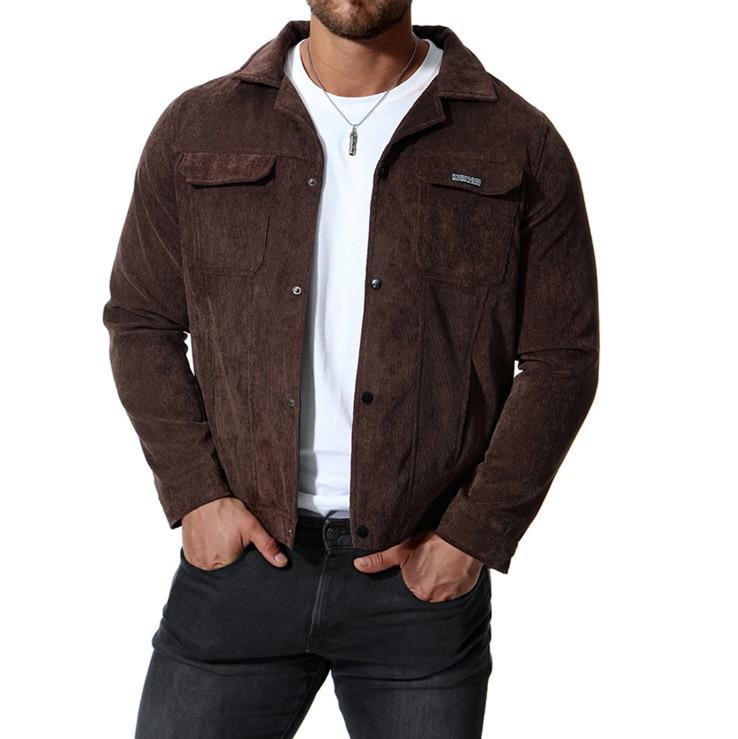 Newest Design Corduroy Jacket Men Casual Coat Autumn Slim Fit Double Pockets Men Jackets Comfortable Black Outerwear 4XL