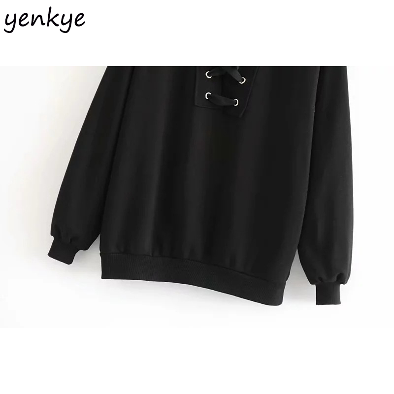 54f9a603472 Aliexpress.com   Buy 2018 Women Eyelet Lace Up O Neck Long Sleeve Sweatshirt  Female Plus Size Casual Black Pullover Hoodies sudadera mujer from Reliable  ...