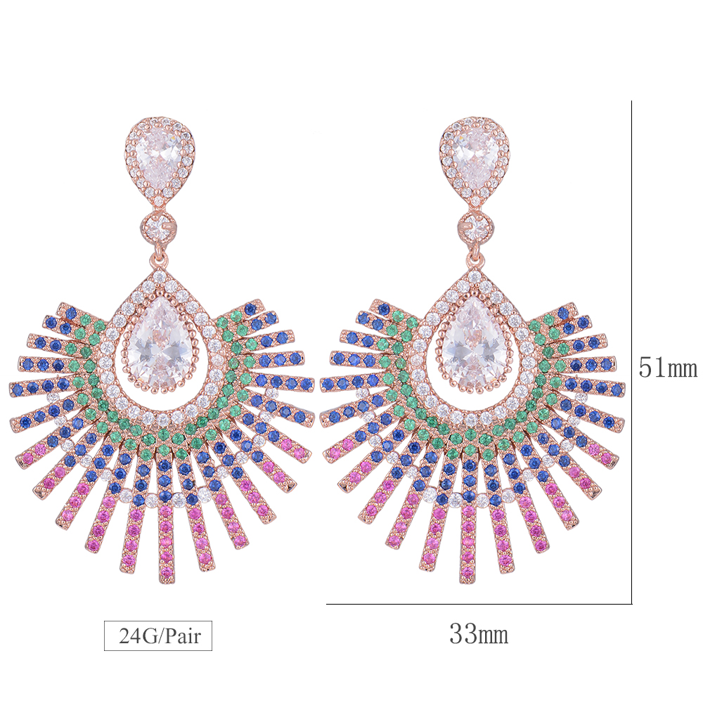 SisCathy Luxury Peacock Feather Earrings Paved Cubic Zirconia Top Quality Pendant Earrings Bridal Wedding Jewelry Lover Gift in Drop Earrings from Jewelry Accessories