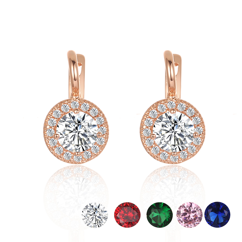 4c01a13be FJ Women Big White Royal Blue Red Pink Cubic Zircon 585 Earrings Gold Color  Round Dangle