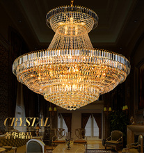 цены Free shipping LED crystal golden chandelier lights villa foyer hotel lobby hall dining room restaurant droplight D140cm*H120cm