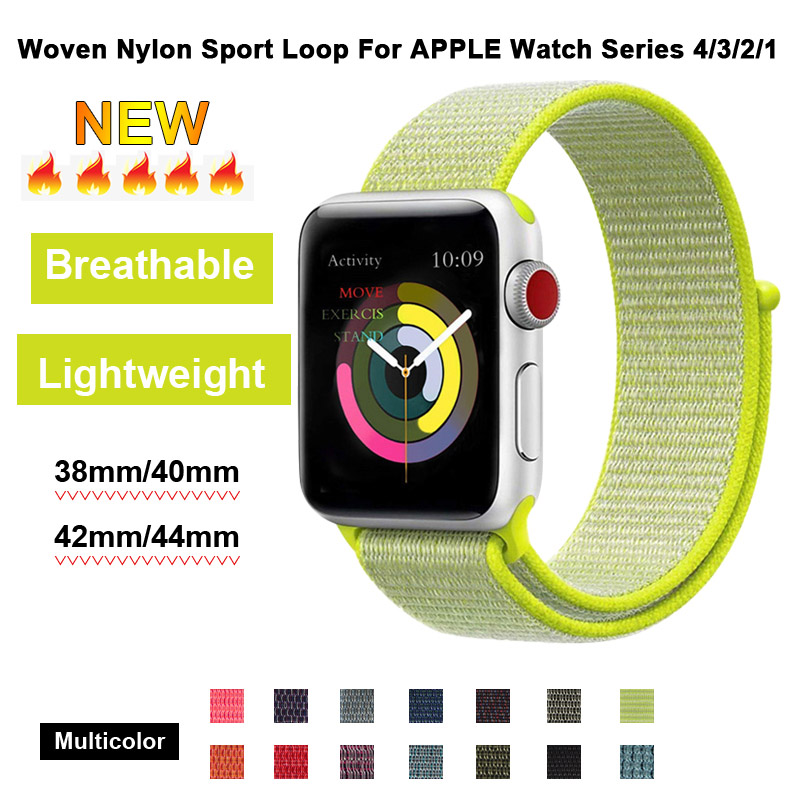 Light Yellow Sport Loop Strap For Apple Watch 44mm Band 40mm Women Bracelet 38mm Men Wristband 42mm For Iphone Series 3